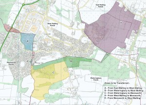 An image of the map of Kings Hill with the ecclesiastical boundary changes.